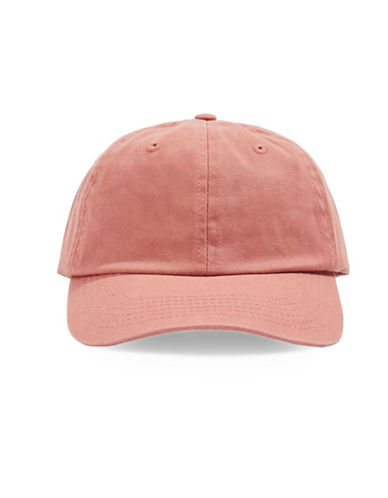 Topshop Washed Plain Baseball Cap-RUST-One Size