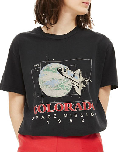 Topshop Colorado Mission T-Shirt-WASHED BLACK-UK 10/US 6
