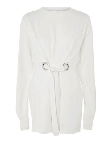 Topshop Self-Tie Eyelet Sweater-WHITE-UK 6/US 2