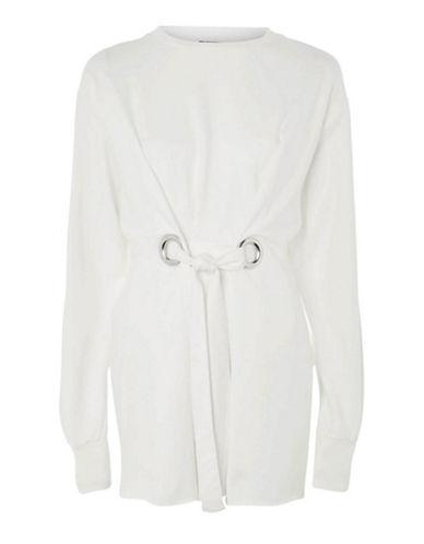 Topshop Self-Tie Eyelet Sweater-WHITE-UK 12/US 8