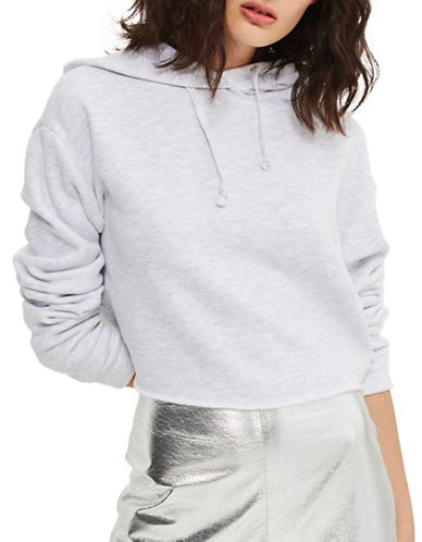 Topshop Cropped Hoodie by Boutique-SILVER-UK 14/US 10