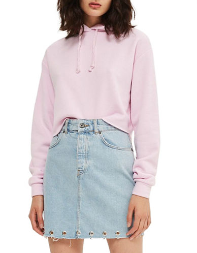 Topshop Cropped Hoodie by Boutique-LIGHT PINK-UK 12/US 8