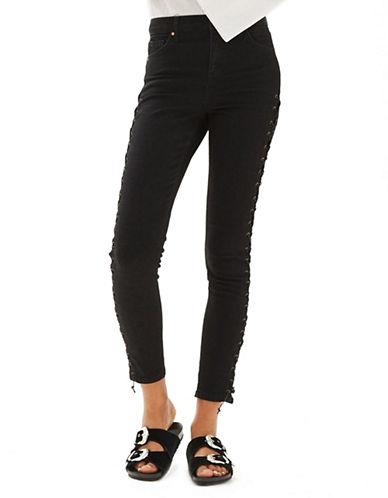 Topshop PETITE Lace-Up Jamie Jeans 28-Inch Leg-BLACK-28X28