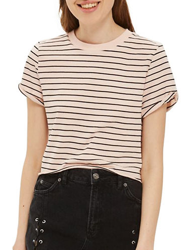 Topshop Striped Crop Top-NUDE-UK 8/US 4