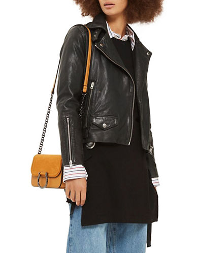 Topshop Leather Biker Jacket-BLACK-UK 12/US 8