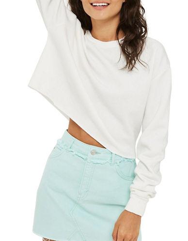 Topshop Cropped Sweatshirt-WHITE-UK 10/US 6