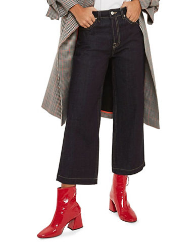 Topshop MOTO Raw Denim Cropped Wide Leg Jeans 30-Inch Leg-INDIGO-26X30