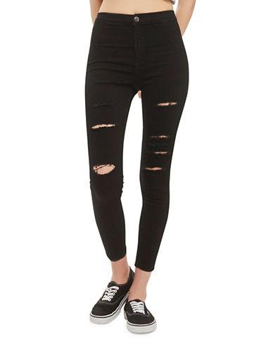Topshop PETITE Super Rip Joni Jeans 28-Inch Leg-BLACK-26X28