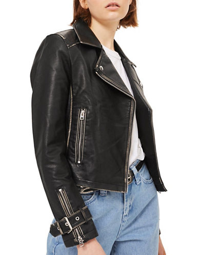 Topshop Washed Faux Leather Biker Jacket-BLACK-UK 12/US 8