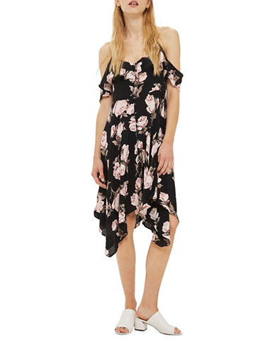 Topshop PETITE Asymmetrical Floral Midi Dress-BLACK-UK 4/US 0