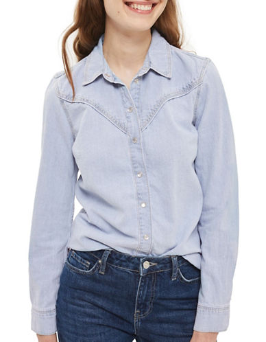 Topshop MOTO Bleach Fitted Western Shirt-BLEACH-UK 10/US 6