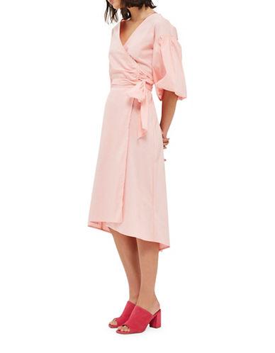 Topshop Balloon-Sleeved Wrap Midi Dress-PINK-UK 10/US 6