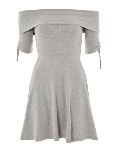 Topshop Bardot Ruched Skater Dress-GREY-UK 12/US 8