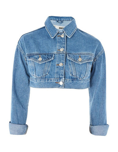 Topshop MOTO Shrunken Crop Denim Jacket-DENIM-UK 8/US 4