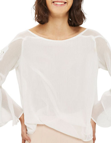 Topshop Eyelet Flute-Sleeved Top-IVORY-UK 12/US 8