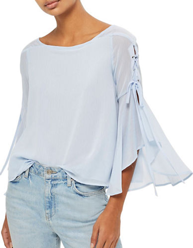 Topshop Eyelet Lace Up Flute Sleeve Top-LIGHT BLUE-UK 12/US 8