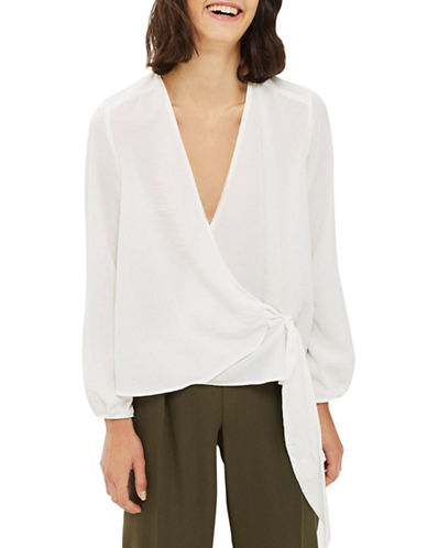 Topshop Wrap Tuck Blouse-IVORY-UK 14/US 10