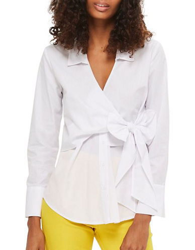Topshop Tie Wrap Poplin Shirt-WHITE-UK 14/US 10