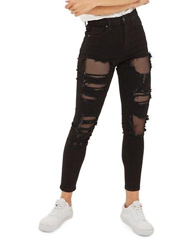 Topshop MOTO Fishnet Jamie Jeans 30-Inch Leg-BLACK-28X30
