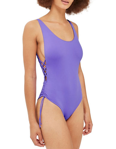 Topshop One-Piece Side Ruched Swimsuit-PURPLE-UK 12/US 8