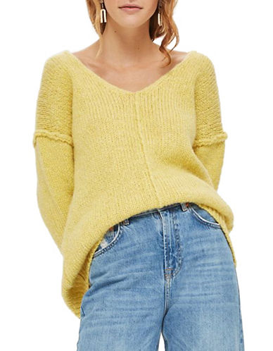 Topshop Oversized V-Front Sweater-YELLOW-UK 12/US 8