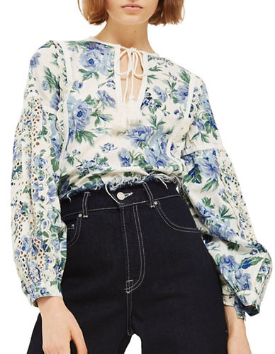 Topshop Floral Balloon Sleeve Blouse-MULTI-UK 6/US 2