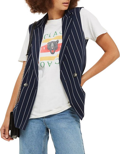 Topshop Striped Sleeveless Jacket-NAVY BLUE-UK 10/US 6