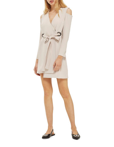 Topshop Cut-out Blazer Dress-NUDE-UK 10/US 6