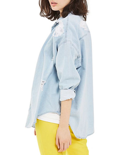 Topshop MOTO Ripped Denim Shirt-BLEACH-UK 12/US 8
