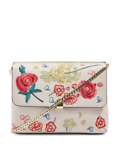 Topshop Floral Embroidered Clutch-STONE-One Size
