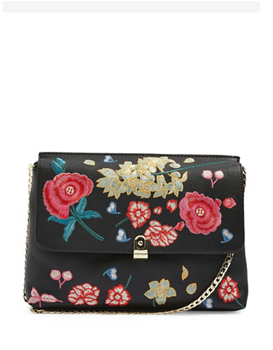Topshop Floral Embroidered Clutch-BLACK-One Size