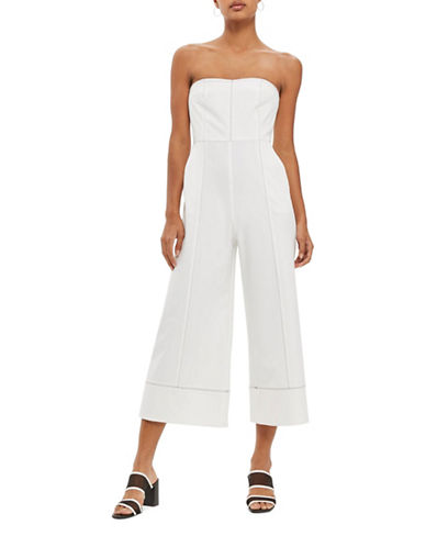 Topshop Topstitch Bandeau Jumpsuit-IVORY-UK 6/US 2