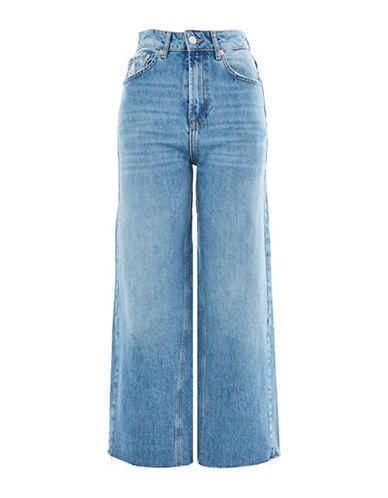 Topshop MOTO Cropped Wide Leg Jeans 30-Inch Leg-BLUE GREEN-28X30