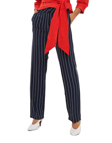 Topshop Stripe Wide Leg Trousers-NAVY BLUE-UK 12/US 8