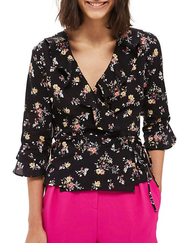 Topshop Flower Print Ruffle Wrap Top-BLACK-UK 8/US 4
