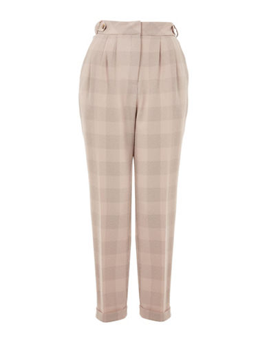 Topshop Mensy Check Trousers-BLUSH-UK 10/US 6