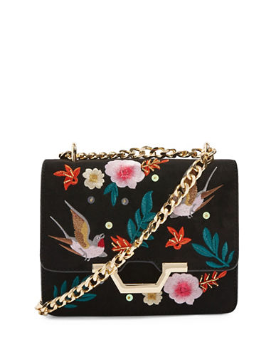 Topshop Kylie Embroidered Bird Crossbody Bag-BLACK-One Size