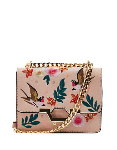 Topshop Kylie Embroidered Bird Crossbody Bag-NUDE-One Size