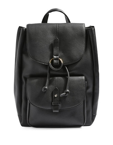 Topshop Bailey Faux Pebbled Leather Backpack-BLACK-One Size