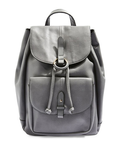 Topshop BAILEY Ring Detail Backpack-GREY-One Size