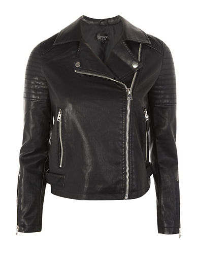 Topshop Faux Leather Biker Jacket-BLACK-UK 6/US 2