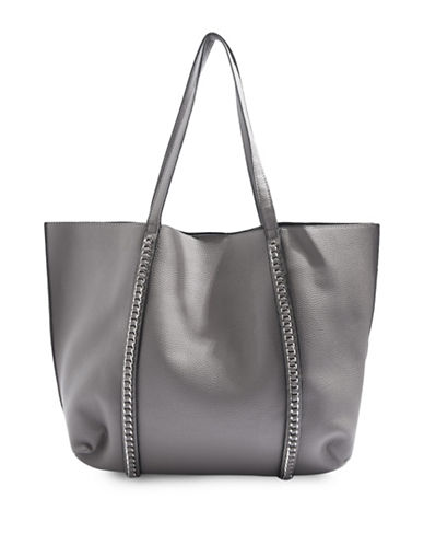 Topshop Sabrina Chain Trim Shopper Bag-GREY-One Size