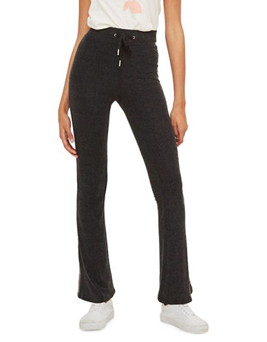 Topshop Supersoft Flared Trousers-BLACK-UK 12/US 8