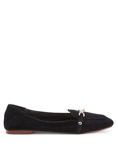 Topshop Loco Chain Trim Suede Loafers-BLACK-EU 38/US 7.5