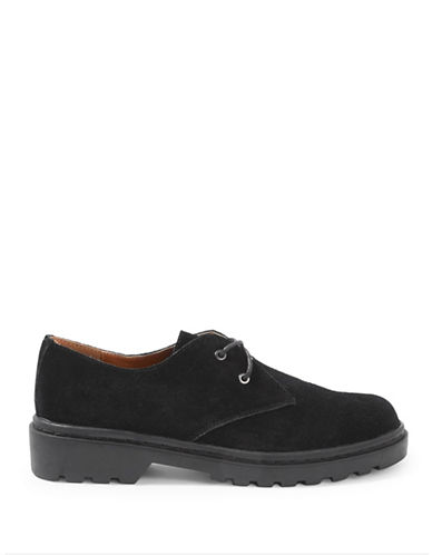 Topshop Fortune Leather Lace-Up Shoes-BLACK-EU 39/US 8.5