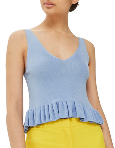 Topshop Frill Hem Tank Top-BLUE-UK 16/US 12