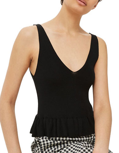 Topshop Frill Hem Tank Top-BLACK-UK 12/US 8