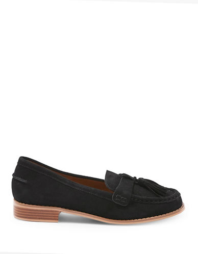 Topshop Lily Suede Tassel Loafers-BLACK-EU 41/US 10.5