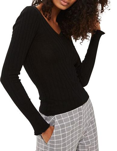 Topshop Wide V-Neck Ribbed Knitted Top-BLACK-UK 10/US 6