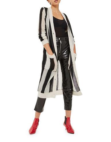 Topshop Stripe Mohair-Wool Longline Cardigan-MONOCHROME-UK 6/US 2
